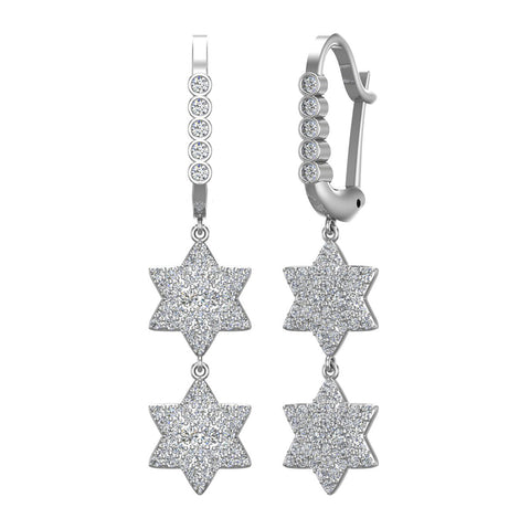 Star of David Diamond Dangle Earrings Dainty Drop Style 14K Gold 1.31 ctw (I,I1) - White Gold
