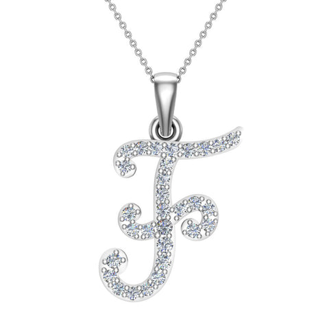 Initial Necklace F Letter charms Diamond pendant necklace 18K Gold (G,VS) - White Gold