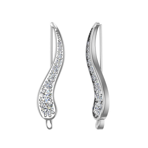 Pave Set Vines Ear Climber Earrings 18k Gold (G,VS) - White Gold