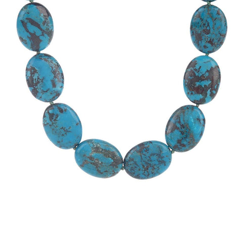 "Tina Segal Sterling Oval Turquoise 18"" Necklace"