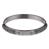 Steel by Design Domed Crystal Hinged Bangle Bracelet