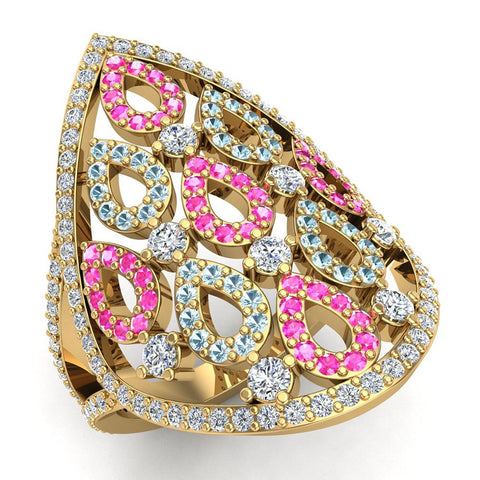 Pear Drop Shape Pink Sapphire Aquamarine & Diamond V Shank Cocktail Ring 1.27 ctw 14K Gold (I,I1) - Yellow Gold