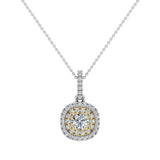 Round Brilliant Diamond Cushion Double Halo 2 tone necklace 14K Gold (G,SI) - Yellow Gold