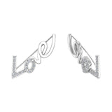 Love vines Ear Climbers Earrings 14k Gold (I,I1) - White Gold