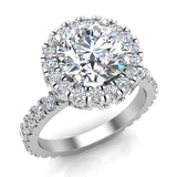 Moissanite Engagement rings 18K Gold Halo Rings for women 3.35 carat (G,VS) - White Gold