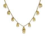 Fern Mallis Simulated Pearl Cluster Drop Necklace