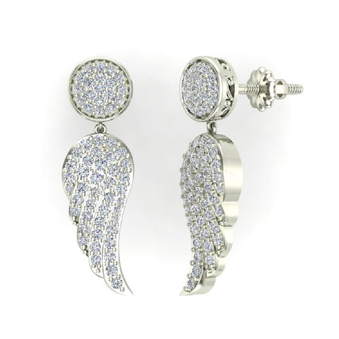 Fashion Statement Diamond Drop Earrings Intriguing Angel Wing 14K Gold (G,SI) - White Gold