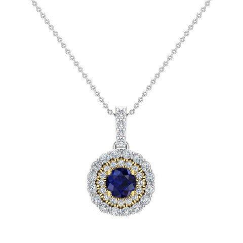 Round Cut Blue Sapphire Double Halo 2 tone necklace 14K Gold (G,SI) - Yellow Gold