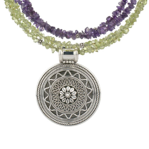 Artisan Crafted Sterling Medallion w/ Amethyst & Peridot Coils