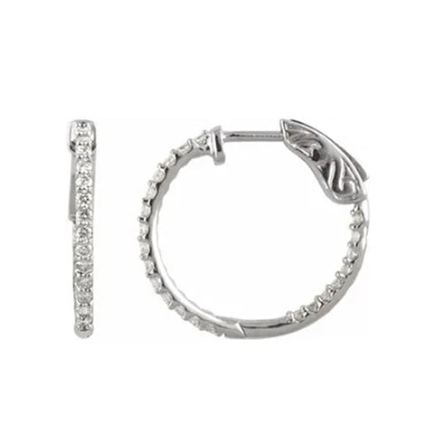 14K White 1/2 CTW Diamond Inside-Outside 19 mm Hoop Earrings (G,SI) - White Gold