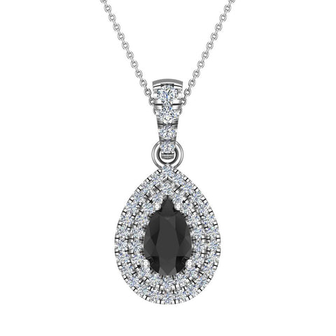 Pear Cut Black Diamond Double Halo Diamond Necklace 14K Gold (I,I1) - White Gold