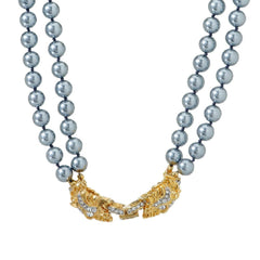 Kenneth Jay Lane's Pave' Lion Simulated Pearl Necklace