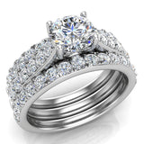 Accented Diamond Solitaire Wedding Ring Set w/ Enhancer Bands Bridal 1.90 Carat Total 14K Gold (I,I1) - White Gold