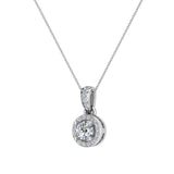 Round Brilliant Diamond Halo Pendant 14K Gold (G,I1) - White Gold