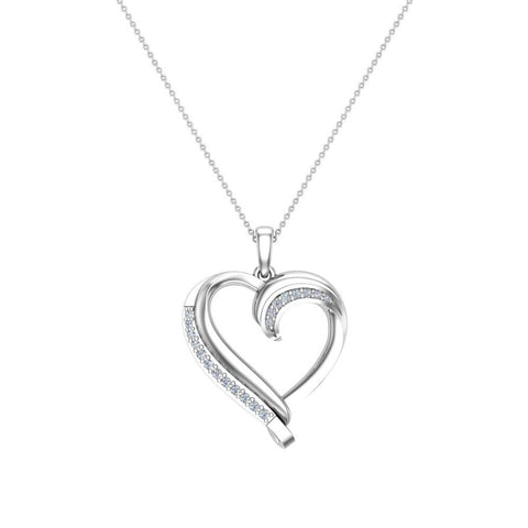 18K Gold Necklace Petite Heart Diamond Pendant Pave set ⅙ ctw (G,SI) - White Gold