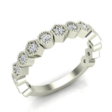 Stacking Circle & Hexagons Milgrain Diamond Wedding Band 0.34 ctw 14K Solid Gold (G,I1) - White Gold