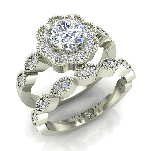 Classic Round Diamond Floral Halo Setting with Milgrain Marquee Shank Wedding Ring Set 1.42 ctw 14K Gold (G,I1) - White Gold