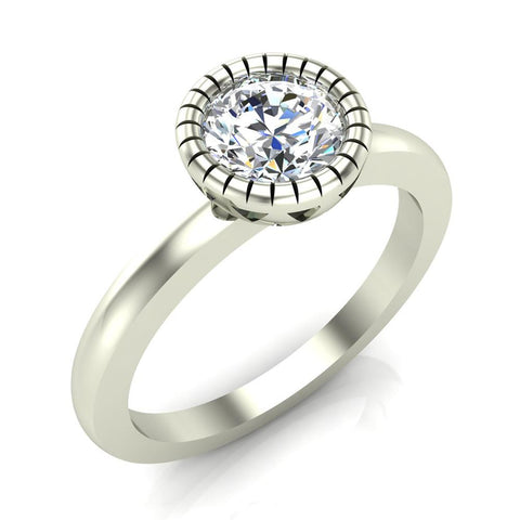 0.75 Carat Simple Vintage Engagement Ring 18K Gold (G,SI) - White Gold