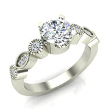 0.93 Carat Vintage Engagement Ring Settings 14K Gold (G,I1) - White Gold