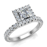 Petite Engagement Rings for Women Princess Cut Halo Diamond Ring 14K Gold 1.05 carat (F,VS) - White Gold