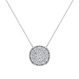 18K Gold Necklace Button Dainty Button Style Pendant 0.50 ctw (G,VS) - White Gold