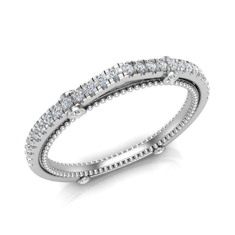 Diamond Wedding Band matching to Vintage Diamond Wedding Ring 18K Gold 0.17 carat (G,VS) - White Gold