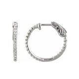 14K White 1/2 CTW Diamond Inside-Outside 19 mm Hoop Earrings (I,I1) - White Gold