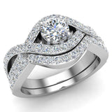 Intertwined Engagement Ring Set Shared Prong Diamond Setting 14K Gold (G,VS) - White Gold