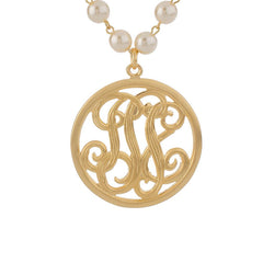 "John Wind Studio Monogram Pendant with 18-3/4"" Simulated Pearl Necklace"