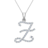 Initial Necklace Z Letter charms Diamond pendant necklace 18K Gold (G,VS) - White Gold