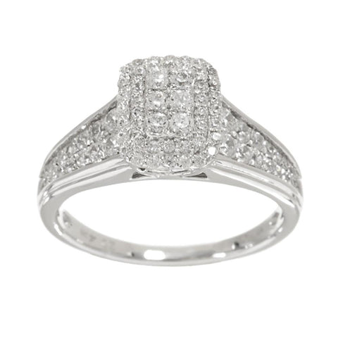 Epiphany Diamonique Pave' Set Emerald Shaped Ring