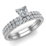 Petite Wedding Rings for women Princess Cut Bridal set 14K Gold 0.90 carat (I, I1) - White Gold