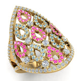 Pear Drop Shape Pink Sapphire Aquamarine & Diamond V Shank Cocktail Ring 1.27 ctw 18K Gold (G,SI) - Yellow Gold