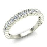 Stacking Milgrain Luscious Round Diamond Wedding Band or Anniversary Band 0.53 ctw 18K Gold (G,SI) - White Gold