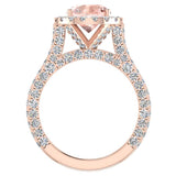 Morganite Engagement Diamond Rings 18K Gold Halo rings for women 4.30 carat (G,VS) - Rose Gold