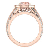 Large Morganite Wedding Ring Set 18K Gold Halo rings for women 7.30 mm 3.20 carat (G,VS) - Rose Gold