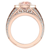 Large Morganite Wedding Ring Set 14K Gold Halo rings for women 8.00 mm 3.95 carat (G,SI) - Rose Gold