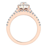 Marquise Cut Diamond Halo Wedding Ring Set w/ Enhancer Bands 1.55 Carat Total 14K Gold (I,I1) - Rose Gold