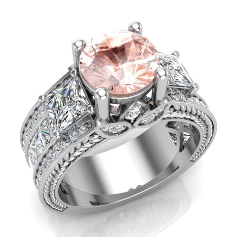 Morganite Engagement Ring for Women 7.30 mm 4.85 carat Past Present Future Style 14K Gold (G,SI) - White Gold
