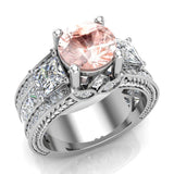 Morganite Engagement Ring for Women 7.30 mm 4.85 carat Past Present Future Style 14K Gold (I,I1) - White Gold