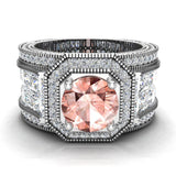 Large Morganite Engagement Ring 14K Gold Halo Rings for women 7.30 mm 6.35 carat (I,I1) - White Gold