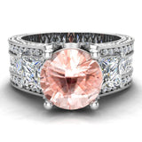 Morganite Engagement Ring for Women 8.00 mm 5.35 carat Past Present Future Style 14K Gold (I,I1) - White Gold