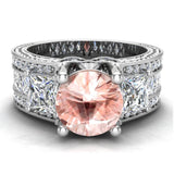 Morganite Engagement Ring for Women 7.30 mm 4.85 carat Past Present Future Style 18K Gold (G,VS) - White Gold