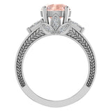 Morganite Engagement Ring for Women 8.00 mm 5.35 carat Past Present Future Style 18K Gold (G,VS) - White Gold