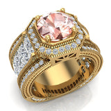 Large Morganite Engagement Ring 18K Gold Halo Rings for women 8.00 mm 6.85 carat (G,VS) - Yellow Gold