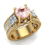 Morganite Engagement Ring for Women 7.30 mm 4.85 carat Past Present Future Style 14K Gold (G,SI) - Yellow Gold