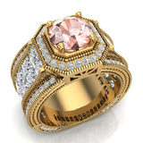 Large Morganite Engagement Ring 18K Gold Halo Rings for women 7.30 mm 6.35 carat (G,VS) - Yellow Gold
