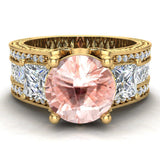 Morganite Engagement Ring for Women 8.00 mm 5.35 carat Past Present Future Style 14K Gold (I,I1) - Yellow Gold