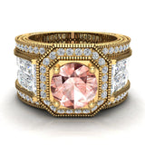 Large Morganite Engagement Ring 14K Gold Halo Rings for women 7.30 mm 6.35 carat (I,I1) - Yellow Gold