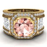 Large Morganite Engagement Ring 14K Gold Halo Rings for women 8.00 mm 6.85 carat (I,I1) - Yellow Gold